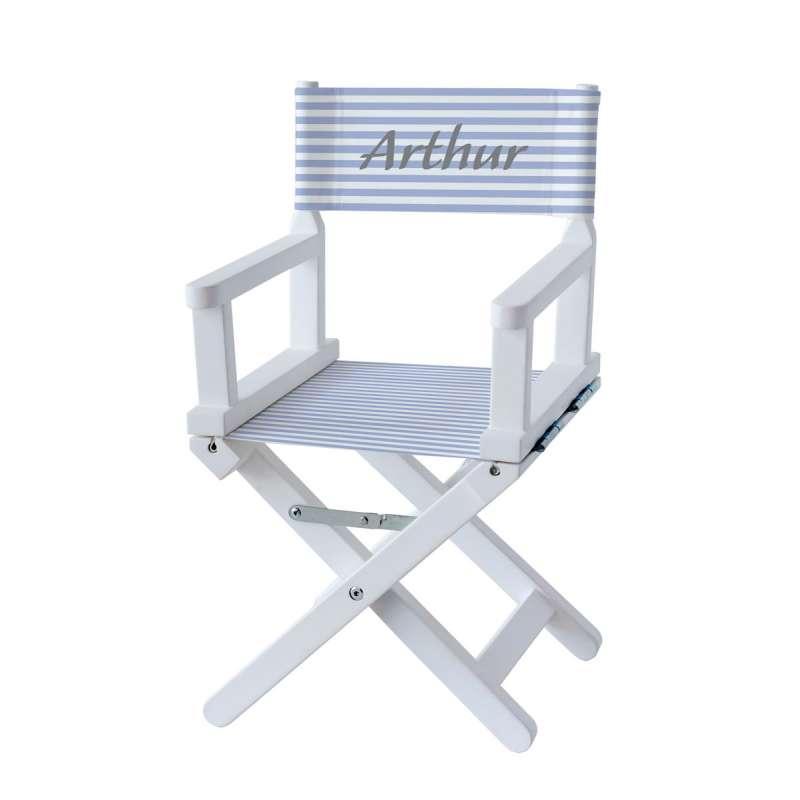 chaise metteur en sc ne rayures bleues ciel et blanches ma petite chaise. Black Bedroom Furniture Sets. Home Design Ideas