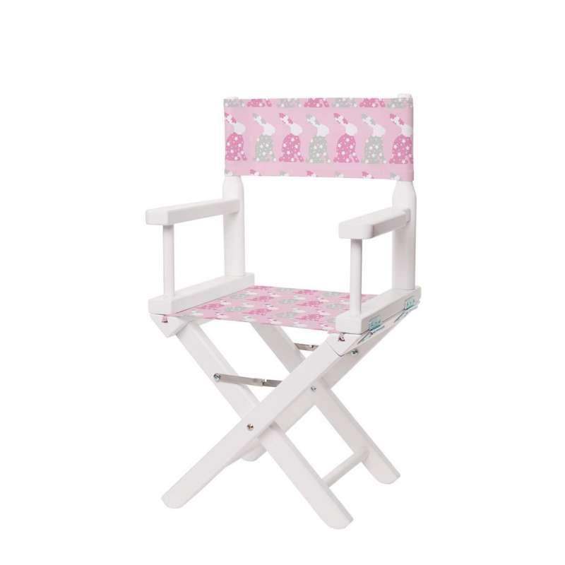 Chaise metteur en scène - Petits lapins roses et gris