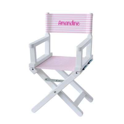 Chaise metteur en scène - Rayures roses pâles et blanches