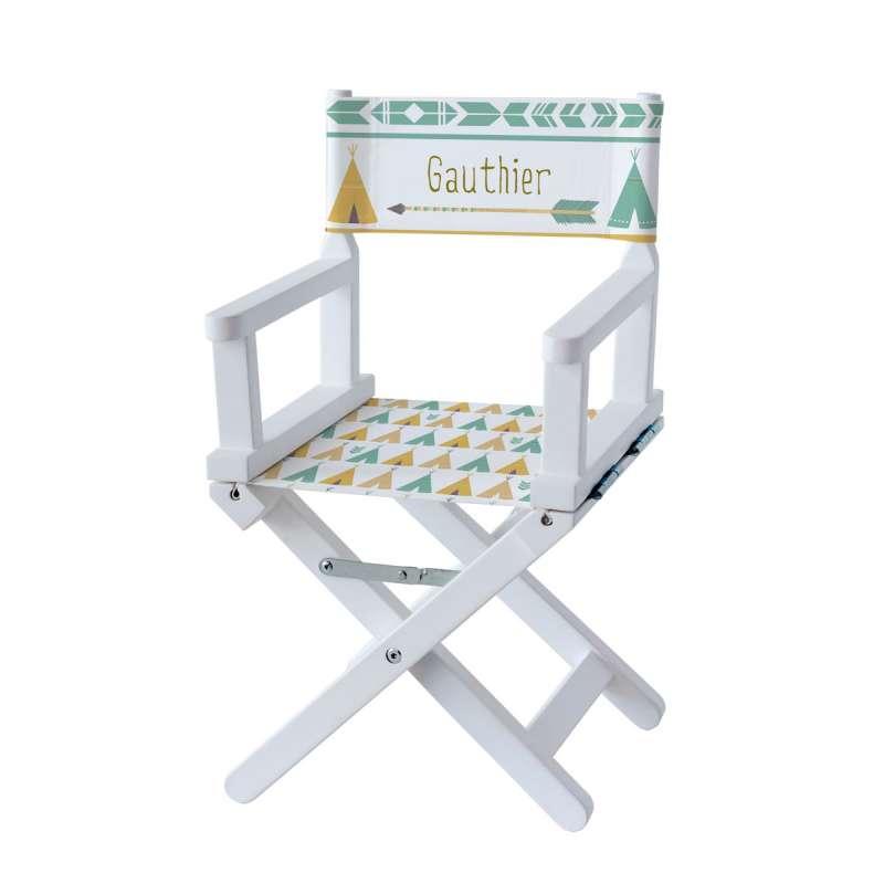 Chaise metteur en scène - Tipi vert et jaune