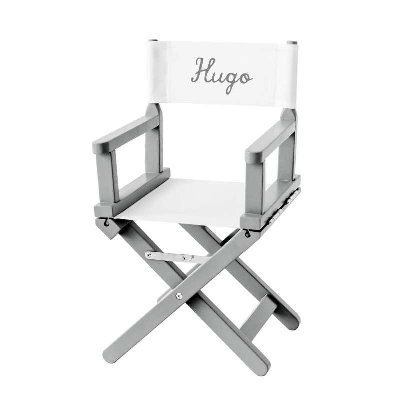 Chaise de cinéma pour enfant personnalisée - Toile unie blanche