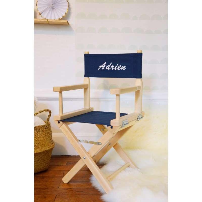 chaise metteur en sc ne enfant 1 4 ans toile unie bleu. Black Bedroom Furniture Sets. Home Design Ideas