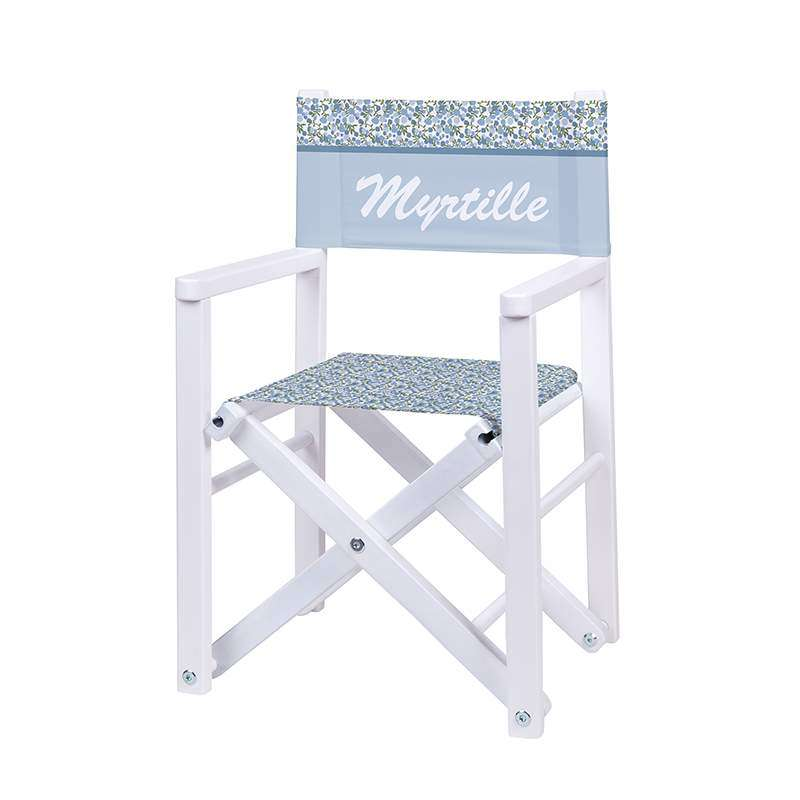 Fauteuil r alisateur fleurs des champs bleues ma for Chaise de realisateur