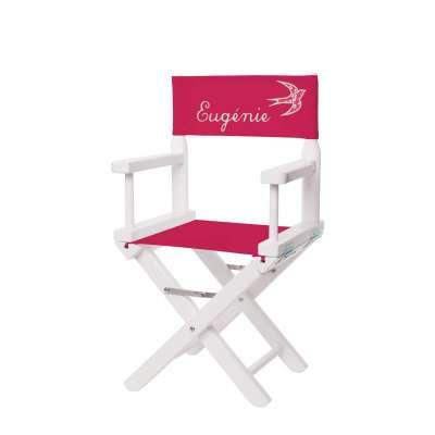 Chaise metteur en scène - Toile rose fuchsia appliqué hirondelle