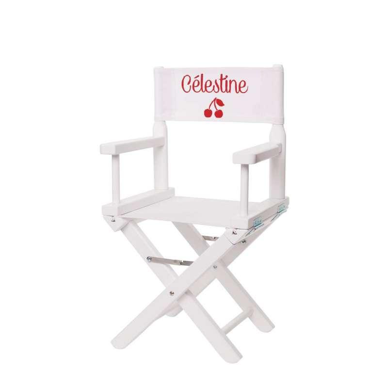 Chaise metteur en scène - Cerises sur toile unie blanche
