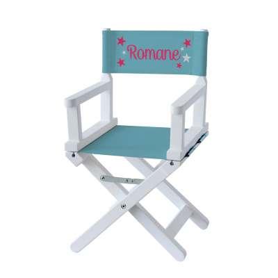 Chaise metteur en scène - Étoiles roses sur toile unie bleu minéral