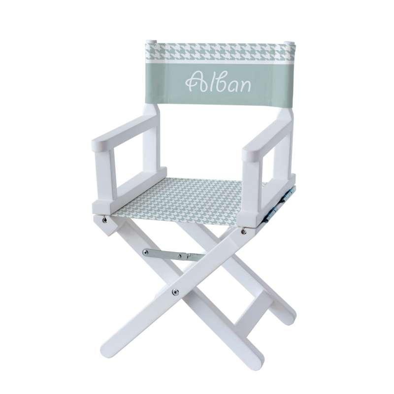 Chaise metteur en scène - Pieds de poule vert d'eau