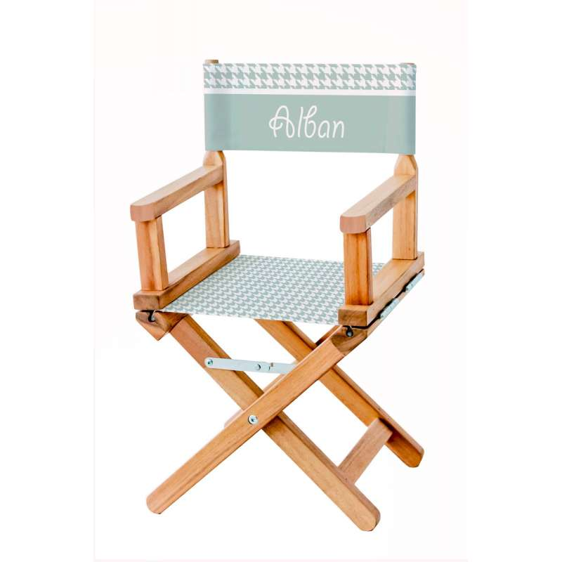 chaise metteur en sc ne enfant toile pieds de poule vert. Black Bedroom Furniture Sets. Home Design Ideas