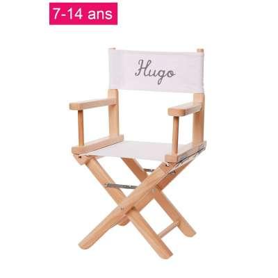 Chaise metteur en scène junior - Toile unie blanche
