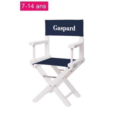 Chaise metteur en scène junior - Toile unie bleu marine