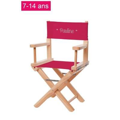 Chaise metteur en scène junior - Toile unie rose fuchsia