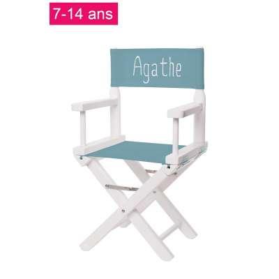 Chaise metteur en scène junior - Toile unie bleu minéral