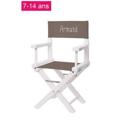 Chaise metteur en scène junior - Toile unie taupe