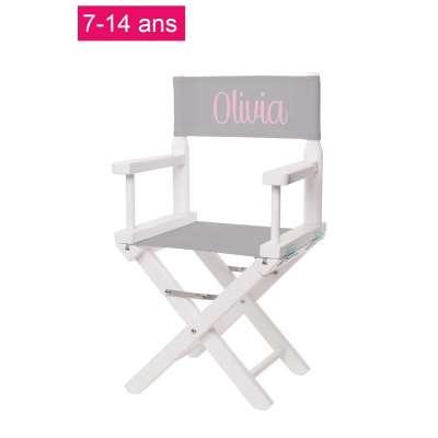 Chaise metteur en scène junior - Toile unie gris clair