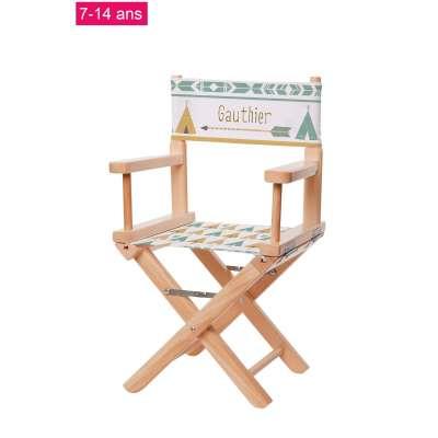 Chaise metteur en scène junior - Tipis verts et jaune