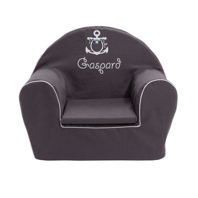 fauteuil club enfant gris a la mer ma petite chaise. Black Bedroom Furniture Sets. Home Design Ideas