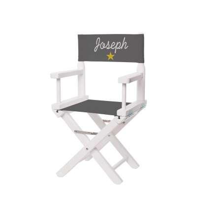 Chaise metteur en scène - Toile unie grise anthracite avec étoile moutarde