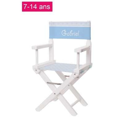 Chaise metteur en scène junior - Motifs géométriques bleu ciel