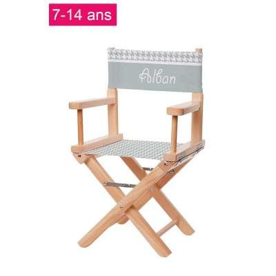 Chaise metteur en scène junior - Pieds de poule vert d'eau