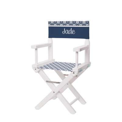 Chaise metteur en scène - Motifs scandinaves bleu marine et blanc