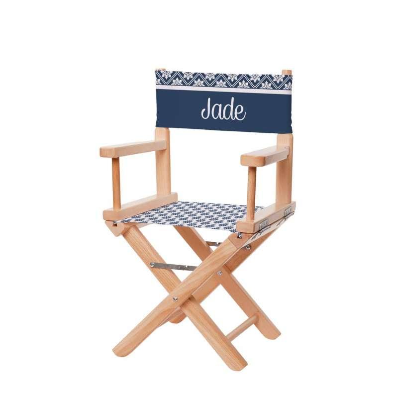 Chaise metteur en sc ne motifs scandinaves bleu marine - Chaise metteur en scene ...
