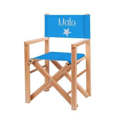 Fauteuil réalisateur - Toile unie bleu azur avec étoile