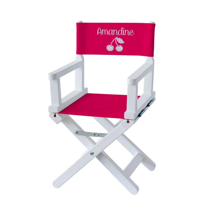 Chaise metteur en scène - Cerises sur toile unie fuchsia