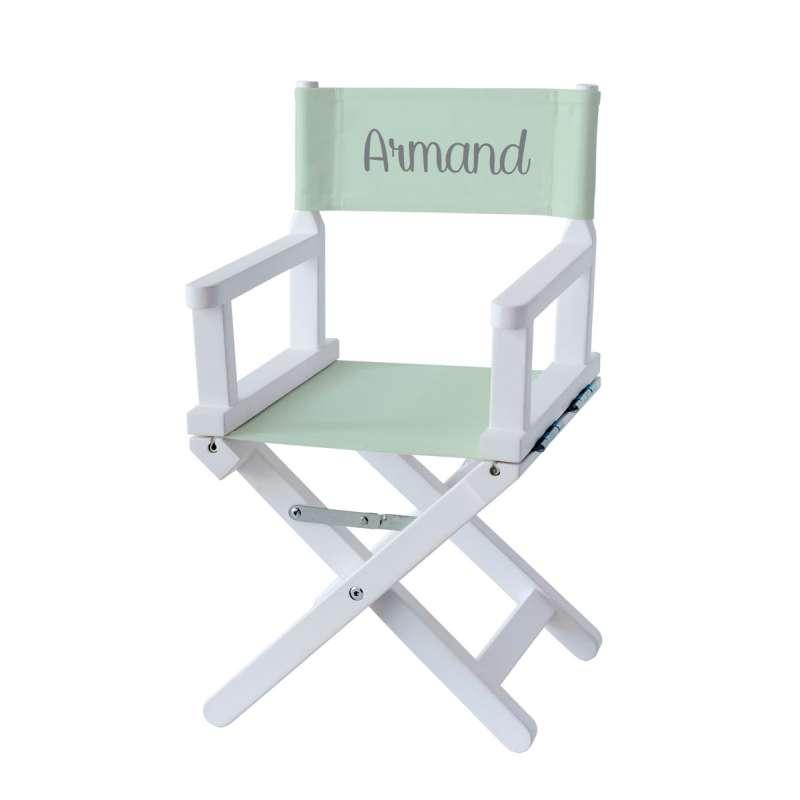 Chaise metteur en scène - Toile unie vert pastel