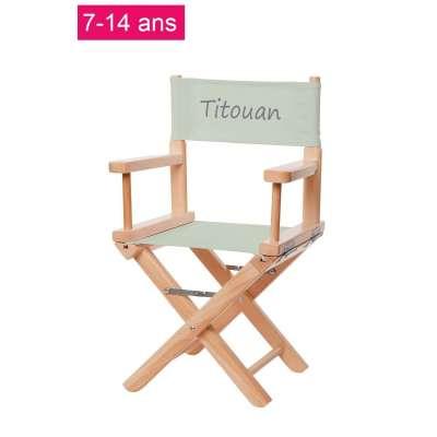 Chaise metteur en scène junior - Toile unie vert pastel