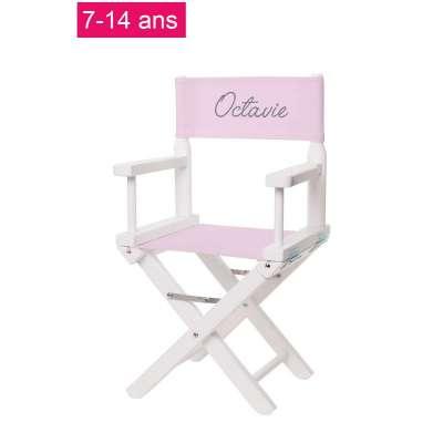 Chaise metteur en scène junior - Toile unie rose clair