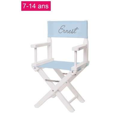 Chaise metteur en scène junior - Toile unie bleu layette