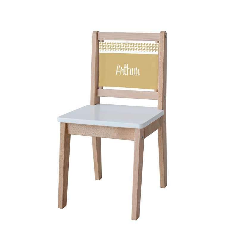Chaise d'écolier - Pieds de poule moutarde