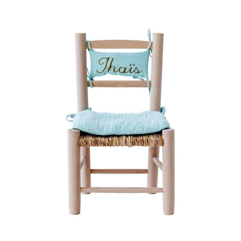 Chaise en paille enfant et coussin menthe claire