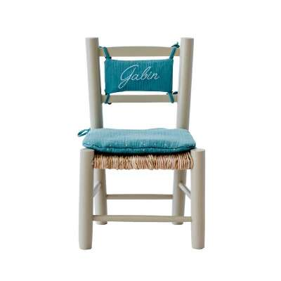 Chaise en paille enfant et coussin eucalyptus