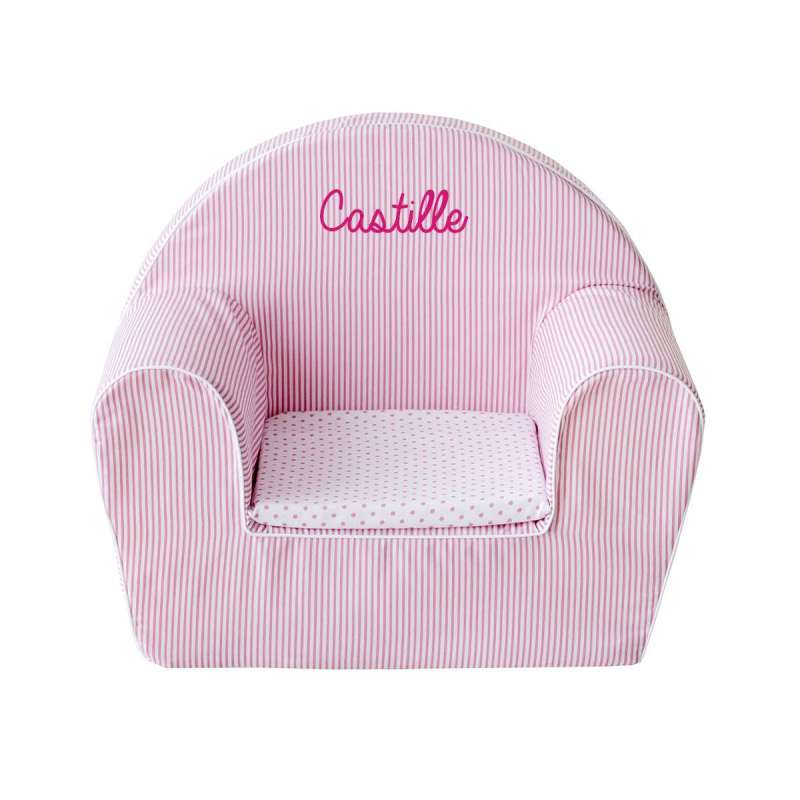 Fauteuil club enfant - Rayures roses et blanches