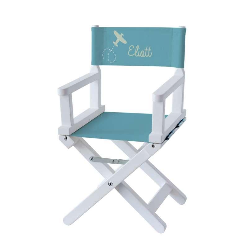 Chaise metteur en scène - Eliott, le pilote sur toile unie bleue minerale