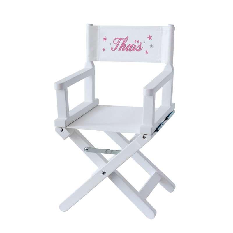 Chaise metteur en scène - Ma première étoile sur toile unie blanche