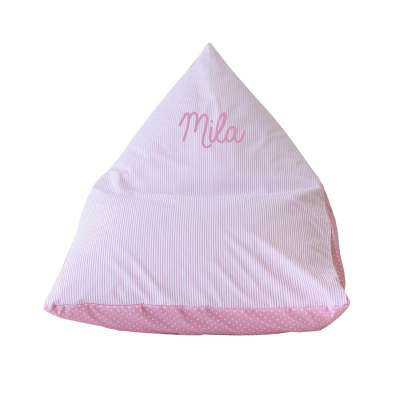 Pouf Poire - Rayures roses et blanches