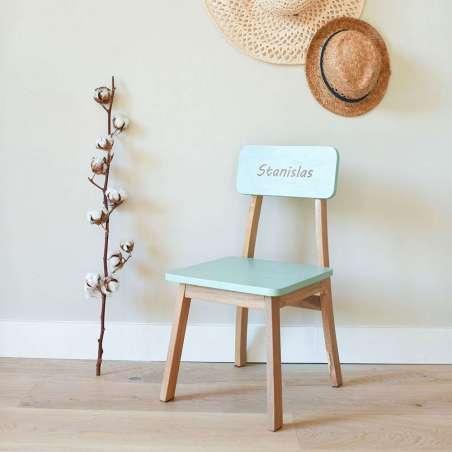 Chaise maternelle gravée - Menthe
