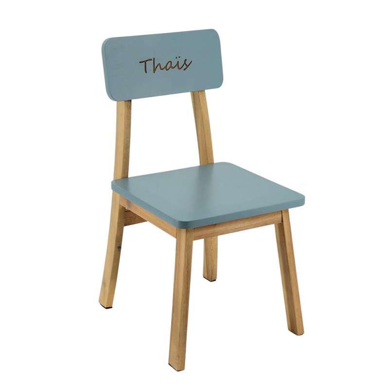 Chaise maternelle gravée - gris bleuté