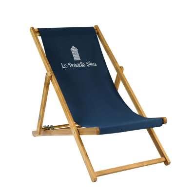 Transat taille adulte - Cabane de plage sur toile unie bleu foncé