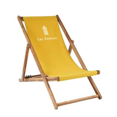 Transat taille adulte - Cabane de plage sur toile unie jaune moutarde