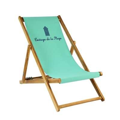 Transat taille adulte - Cabane de plage sur toile unie turquoise