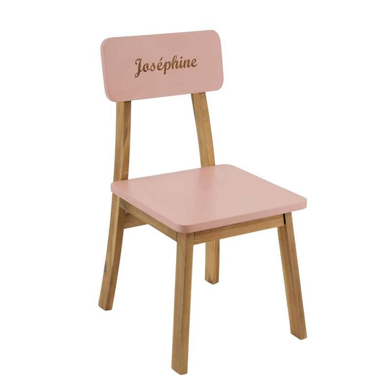 Chaise maternelle gravée - rose