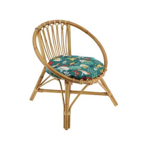 Chaise rotin enfant - Coussin Jungle Tropicale