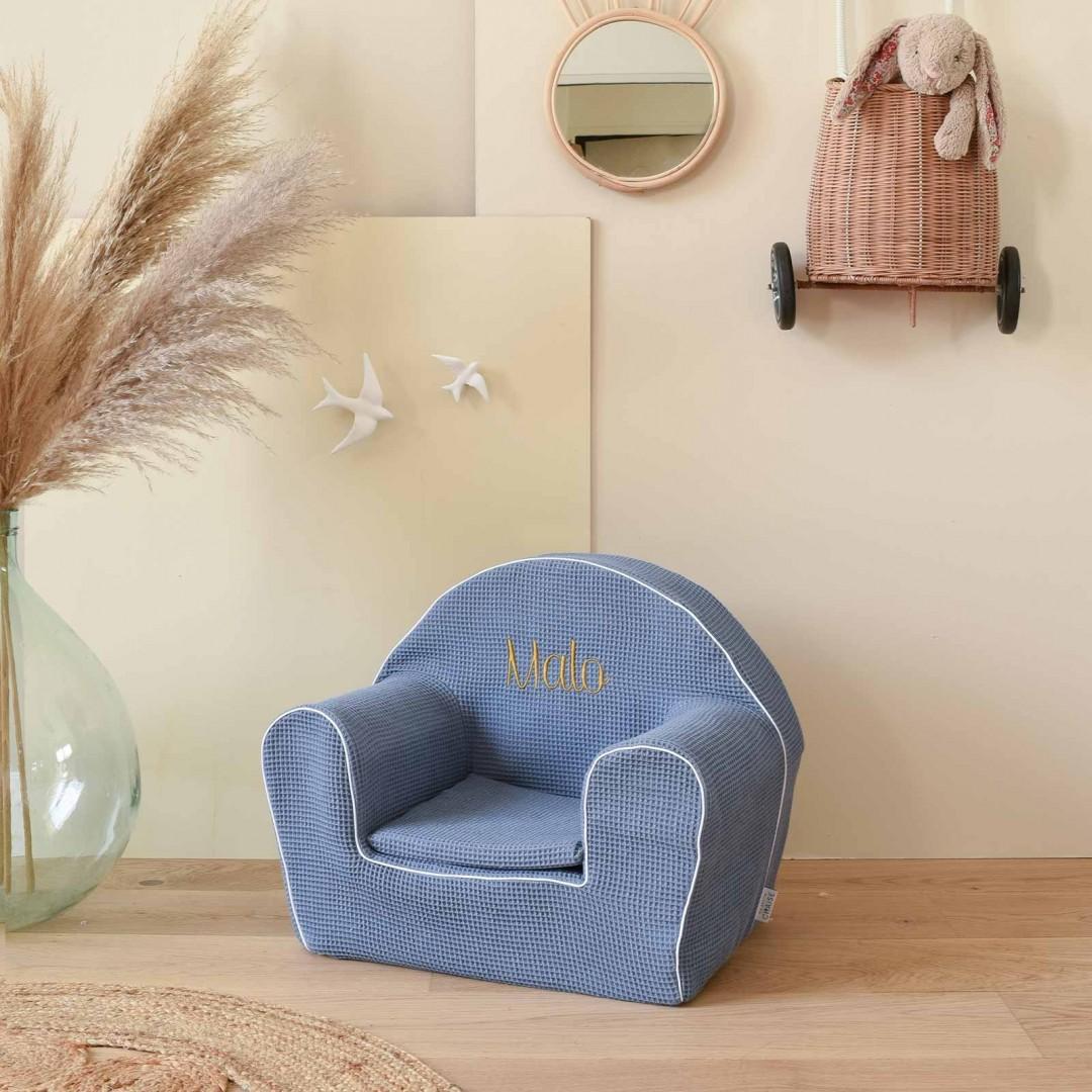 Fauteuil club enfant - Nid d'abeille bleu denim