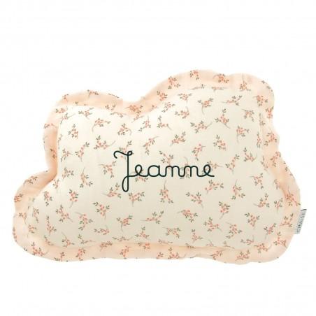 Coussin enfant personnalisé nuage - Fleuri rose