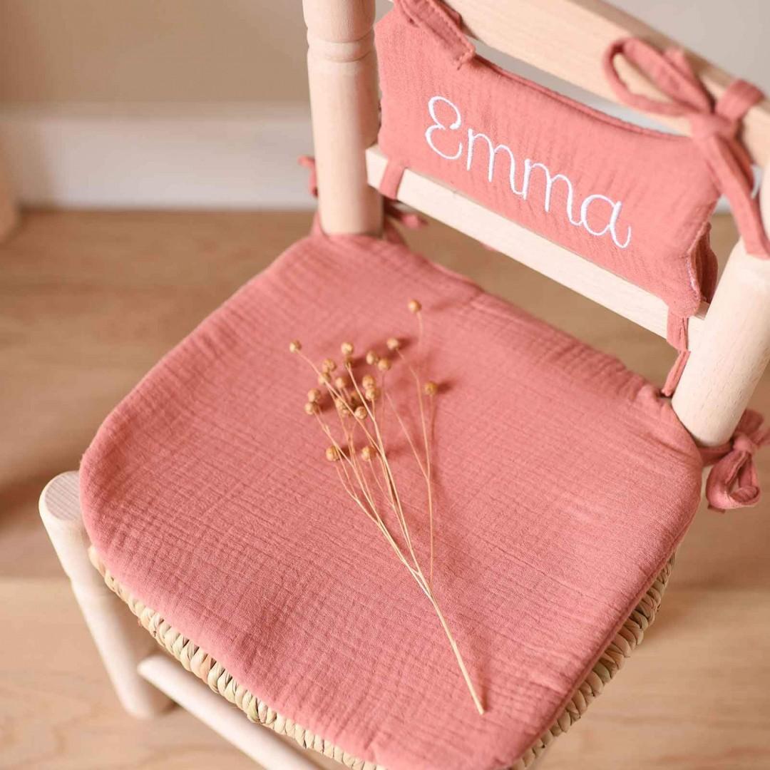 Chaise paille enfant - Coussin marsala
