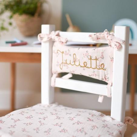 Chaise paille enfant coco - Coussin fleuri rose