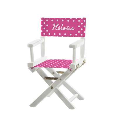 Jeu de toiles pour chaise de metteur en scène - Petits pois roses fuchsias